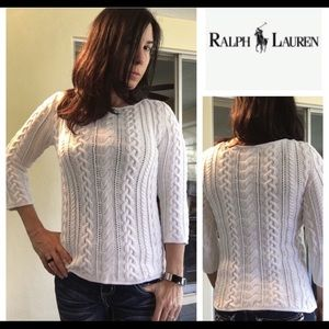 Ralph Lauren cable knit white cotton sweater